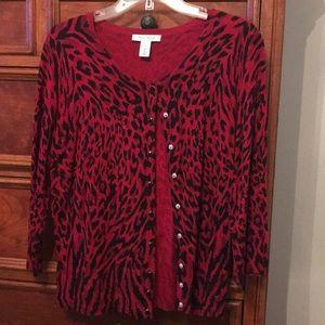 WHBM red/black leopard print cardigan